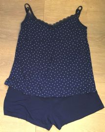 GEORGE NAVY STAR PRINT 2 PIECE NURSING PYJAMA SET SIZE UK 16-18